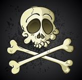 Crânio e ossos cruzados Jolly Roger Cartoon Character Foto de Stock Royalty Free