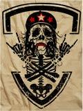 Crânio e ossos cruzados/marca do aviso do perigo ilustração stock