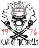 Crânio e ossos cruzados/marca do aviso do perigo/gráficos do t-shirt ilustração stock