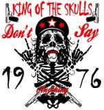 Crânio e ossos cruzados/marca do aviso/t-shirt do perigo ilustração stock