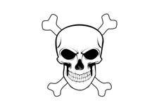 Crânio e ossos cruzados no fundo branco ilustração stock