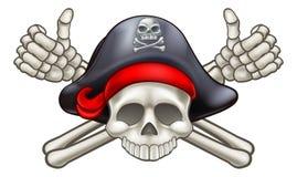 Crânio e pirata dos ossos cruzados ilustração stock