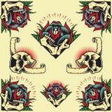 Crânio e Rose Frames ilustração stock