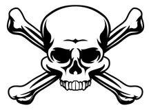 Crânio e símbolo dos ossos cruzados ilustração stock