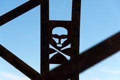 Crânio e sinal de aviso dos crossbones Imagens de Stock