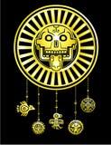 Crânio estilizado Deus pagão da morte Motriz do indiano do nativo americano da arte ilustração do vetor