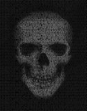 Crânio feito do código binário Hacker, símbolo da guerra do cyber Imagens de Stock