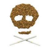 Crânio feito pelo cigarro e pelo cigarro Fotos de Stock Royalty Free