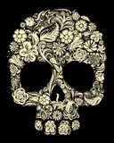 Crânio floral ilustração royalty free