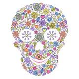 Crânio floral isolado no fundo branco. ilustração royalty free