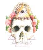 Crânio, flores, aquarela ilustração stock