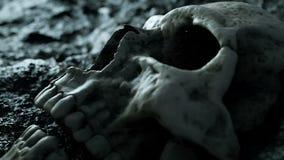 Crânio humano antigo Conceito do apocalipse Animação 4K realística super filme