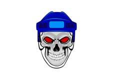 Crânio humano com o capacete azul do hóquei ilustração do vetor