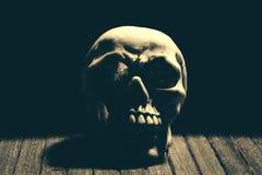 Crânio humano com os dentes no fundo preto Imagens de Stock