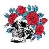 Crânio humano com uma grinalda das rosas Fotos de Stock Royalty Free