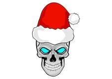 crânio humano como a cabeça de Santa Claus ilustração royalty free