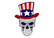 Crânio humano em um chapéu do tio Sam ilustração stock