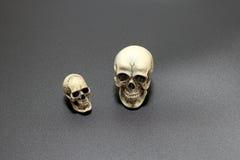 Crânio humano no fundo preto da areia de superfície, ainda estilo de vida Foto de Stock
