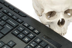 Crânio humano perto do teclado Fotografia de Stock Royalty Free