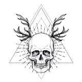 Crânio humano sobre o símbolo sagrado da geometria Demônio, chara do conto de fadas ilustração stock