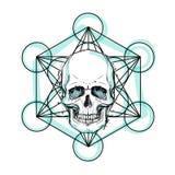 Crânio humano sobre o símbolo sagrado da geometria Demônio, chara do conto de fadas ilustração royalty free