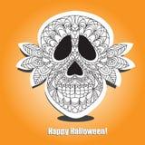 Crânio inoperante - helloween o cartão Fotografia de Stock Royalty Free