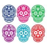 Crânio mexicano do açúcar, ícones coloridos de Diâmetro de los Muertos ajustados Fotos de Stock Royalty Free