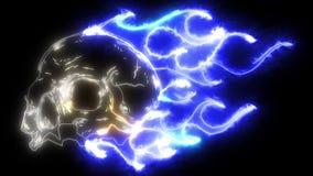 Crânio na animação do laser do fogo ilustração do vetor