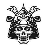 Crânio na ilustração do preto do vetor do capacete do samurai fotografia de stock royalty free
