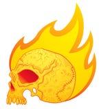 Crânio nas flamas ilustração do vetor