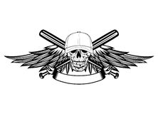 Crânio no boné de beisebol e nas asas Foto de Stock Royalty Free