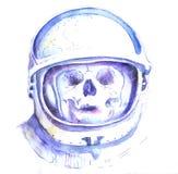 Crânio no capacete de espaço ilustração stock