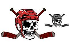 Crânio no capacete do hóquei em gelo ilustração royalty free