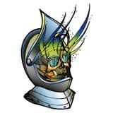 Crânio no capacete medieval Fotografia de Stock Royalty Free