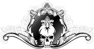 Crânio no frame decorativo Imagens de Stock