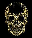 Crânio no fundo preto ilustração do vetor