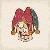 Crânio no molde do vetor do grunge do tampão do bobo da corte ilustração do vetor