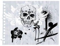 Crânio no papel ilustração stock