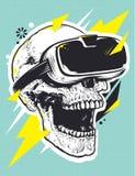 Crânio no pop art dos vidros de VR Fotos de Stock Royalty Free