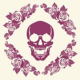 Crânio no quadro das rosas Fotografia de Stock