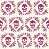Crânio no quadro das rosas ilustração do vetor