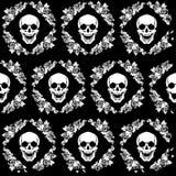 Crânio no quadro das rosas Imagens de Stock Royalty Free