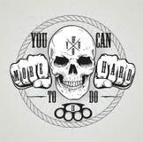 Crânio ou etiqueta do vintage, e slogan Fotografia de Stock Royalty Free