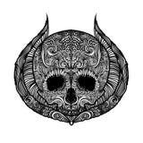 Crânio preto e branco da tatuagem ilustração stock