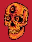 Crânio principal do horror com os três olhos na obscuridade - fundo alaranjado ilustração stock