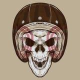 Crânio retro Logo Illustration do motociclista ilustração do vetor