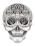 Crânio surreal da mistura de Art Celtic ilustração stock
