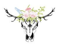 Crânio tribal do boho com flores Ornamento tradicional Esteja selvagem e livre ilustração do vetor