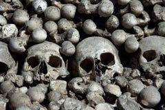 Crânios assustadores e ossos Fotografia de Stock