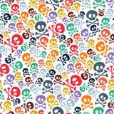 Crânios coloridos bonitos e ossos cruzados sem emenda Imagens de Stock
